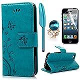 iPhone 5 5S SE Wallet Case iPhone 5 5S SE Flip Hülle YOKIRIN Schmetterling Blumen Muster...
