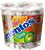 Mini Mentos Fruit Mix, Eimer mit 120 Rollen Kaubonbons, Box Frucht-Dragees, Geschmack Orange +...
