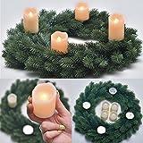 PROHEIM Weihnachts-Kranz Ø 45 cm Voll-PE Tannen-Kranz inkl. 4 weißen LED Echtwachskerzen schwer...