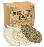 BadeSet fur Korper und Gesicht - drei Peeling Handschuhe aus naturlichen Fasern - Hanf, Sisal und...