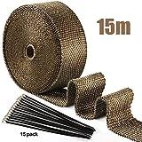 15M Hitzeschutzband Basaltfaser Auspuffband mit 15 Edelstahl Kabelbinder in schwarz für...