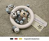 Baby Greifling Rassel Beißring mit Namen | individuelles Holz Lernspielzeug als Geschenk zur Geburt...