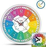 Funtini Kinderuhr-Set lautlos | Wanduhr Ø30cm mit Spielzeug-Lernuhr zum Uhr lesen lernen |...