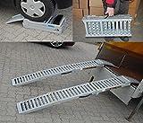 2x Auffahrrampe Stahl 500 Kg (Traglast Paar) klappbare faltbare Rampe Auffahrschiene Motorradrampe...