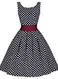 Miusol Damen Elegant Rundhals Traegerkleid 1950er Retro Polka Dots Cocktailkleid Faltenrock Kleid...