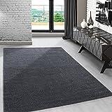 Modern kurzflor Teppich unifarben einfarbig design meliert Grau-Weiss für Wohnzimmer. Esszimmer...