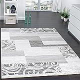 Designer Teppich Wohnzimmer Teppich Kurzflor Muster in Grau Creme Preishammer, Grösse:160x220 cm