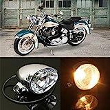 mark8shop Motorrad Vorne Scheinwerfer-Lampe für Harley Honda Yamaha Suzuki Kawasaki