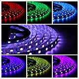 Salcar 5m RGB LED Strip LED Streifen mit 300 LEDs (SMD5050), 16 Farben auswählbar, inkl. 24 Tasten...