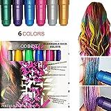 Haarkreide, Metallische Glitter Temporäre Haarkreide, CIDBEST® 6 Farben Tragbare Hair Chalk Set,...