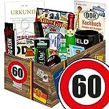 60. Geburtstag Geschenk - Ostprodukte MÄNNER Box + Geschenkverpackung 'Verkehrsschild 60' mit...