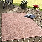 In- & Outdoor Flachgewebe Teppich Terrassen Teppiche Farbverlauf In Terracotta, Grösse:80x150 cm