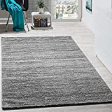 Teppich Modern Wohnzimmer Kurzflor Gemütlich Preiswert Meliert in Grau Creme, Grösse:70x140 cm