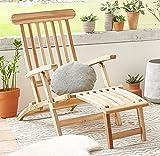 SAM® Teak Holz Deckchair, Liege-Stuhl, Sonnenliege, verstellbar, geschliffen, platzsparend zu...