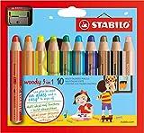 Buntstift, Wasserfarbe & Wachsmalkreide - STABILO woody 3 in 1 - 10er Pack mit Spitzer - 10...