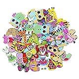 baleba Knöpfe für Kinder Kinderknöpfe Holzknöpfe Knopf Scrapbooking Mischung aus 50 Holzknöpfen...