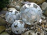 3er Set Dekokugeln Gartenkugeln Blume Metall 10+15+20cm Silber patiniert Kugel