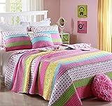 Unimall 2tlg. Tagesdecke Baumwolle Kinder Mädchen Überwurf Baumwolle Patchwork Rosa 170 x 220 cm