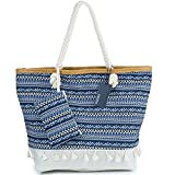 Große Strandtasche mit Reissverschluss, ZWOOS Damen Shopping Shopper Tasche Reisetasche Canvas...