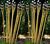 24 Gartenfackel Bambusfackel Holzfarben 120 cm inkl. Dochte STAR-LINE® Bambus Garten Dekoration...