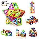 PovKeever 72 Stücke Magnetische Bausteine Kleinkind Spielzeug Magnetische Fliesen Bau Blocks Set...