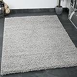 Prime Shaggy Teppich Grau Hochflor Langflor Teppiche Modern für Wohnzimmer Schlafzimmer Einfarbig -...