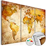 SENSATIONSPREIS 120x80 cm ! Neuheit! Weltkarte mit Kork Rückwand - Bild auf Vlies-Leinwand - 3...