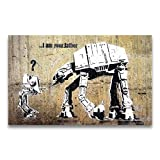 Banksy Kunstdruck auf Leinwand 'I am your Father' - Star Wars Graffiti Bild 95 x 60 cm fertig...