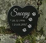 Gedenkstein Gravur Herz Grabschmuck Marmor Pfoten Hund Katze