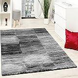 Designer Teppich Modern Wohnzimmer Teppiche Kurzflor Karo Meliert Grau Schwarz, Grösse:120x170 cm