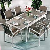 Daisy Tisch und 6 Georgia Stühle - WEIß & CHAMPAGNERFARBEN | Ausziehbarer 200cm Esstisch mit...