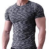 Musclealive Herren Fest Kompression Grundschicht Kurzarm T-Shirt Bodybuilding Tops Polyester und...