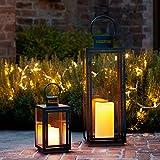 2er Set Schwarze Metall Laternen Malvern LED Kerze Timer 34cm & 30cm Lights4fun