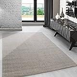 Modern kurzflor Teppich unifarben einfarbig design meliert Beige-Cream für Wohnzimmer. Esszimmer...