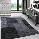 Modern designer kurzflor Teppich kariert design meliert Anthrazit Schwarz Grau für Wohnzimmer....