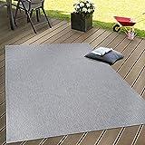In- & Outdoor Flachgewebe Teppich Terrassen Teppiche Natürlicher Look In Grau, Grösse:160x220 cm