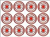 12 runde Alarm Aufkleber Alarmanlage Alarmgesichert Einbruchschutz