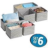 mDesign 6er-Set Stoffbox für Schrank oder Schublade – die ideale Aufbewahrungsbox für Wäsche,...