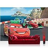 Fototapete 368x254 cm PREMIUM Wand Foto Tapete Wand Bild Papiertapete - Disney Tapete Cars Auto...