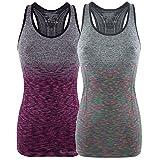 Bongual Damen Funktiontop Slim Fit Running-Tanktop Sporttop mit Ringerrücken für Yoga, Fitness,...