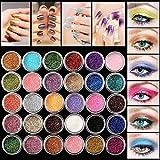 HENGSONG Glitter Eyeshadow 30 Farben Mix Glitter Puder Lidschatten Eyeshadow Kosmetik Schminke...