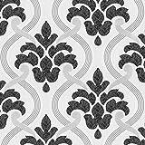 P&S Memphis Damask Muster Blumenmotiv Geprägt Glitzer Vinyl Tapete - Schwarz Weiß 13306-10