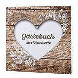 Gästebuch zur Hochzeit 'Herzenssache' in rustikaler Holz-Optik mit weißem Herz
