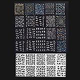 Anself 30 Blatt Nagel Kunst Sticker 3D verschidenen Farben Blumenmuster Nail Art Sticker...