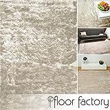 Exklusiver Hochflor Shaggy Teppich Satin beige/creme 140x200 cm - edler, seidig glänzender Teppich