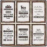 6 Schilder Magnete - Unordnung - keine Ahnung - hübsch - Leben - Schokolade - perfekt ! - Vintage...