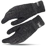 Winterhandschuhe für Damen und Herren Thinsulate Strick Handschuhe Tarjane® - L/XL - Anthrazit