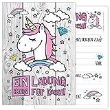 12-er Kartenset UNICORN mit einem niedlichen, süßen Einhorn, Regenbogen und Wolken -...