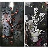 COM-FOUR® 2x Tür Deko für Halloween mit verschiedenen Motiven, Horror Tür Cover zum Gruseln,...