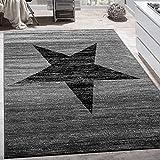 Designer Teppich Stern Muster Modern Trendig Kurzflor Meliert In Grau Schwarz, Grösse:120x170 cm